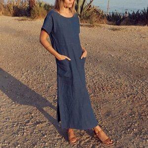 Christy Dawn Seaton Linen Dress Blue Sz XS/Small
